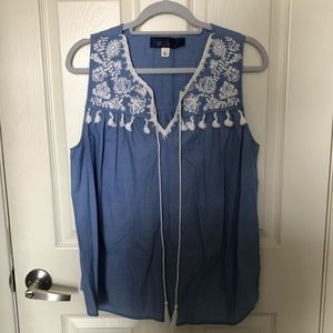 chambray embroidered tank